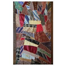 """37"""" X 18"""" Hand Stitched and Embroidery Embellished Vintage Silk Tie Quilt Piece"""