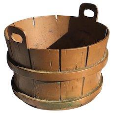 Handmade Folk Art Copper Barrel Basket