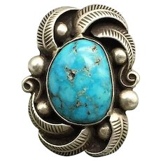 Exquisite Navajo Kingman Waterweb Turquoise Sterling Ring