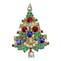 Vintage Weiss Multicolor Rhinestone Widely Copied Xmas Tree Brooch Pin