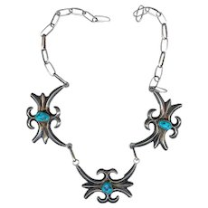 Exceptional Old 1950s Navajo Tufa Cast Sterling Turquoise Necklace