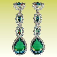 Early K.J.L. Kenneth Jay Lane 3 Inch Dangling Emerald Green Crystal Earrings