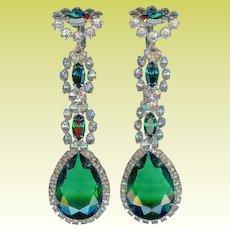 Early K.J.L. Kenneth Jay Lane 3 Inch Dangling Emerald Green Crystal Earrings