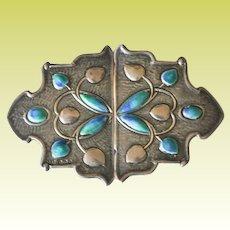 Antique 1907 English Arts & Crafts Sterling Silver Enamel Sash Buckle