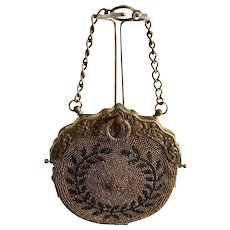 Antique 1895-1910 Steel Cut Bead Leather Chatelaine Purse