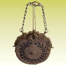 Antique 1895-1910 Steel Cut Bead Leather Chatelaine Purse