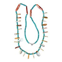 Rare Pueblo Indian Hand Rolled Turquoise Heishi Coral Necklace