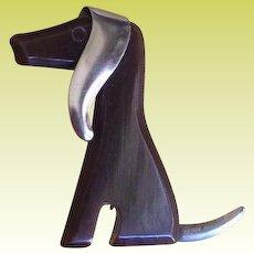 Vintage Brown Bakelite Dog Floppy Ears Brooch Pin