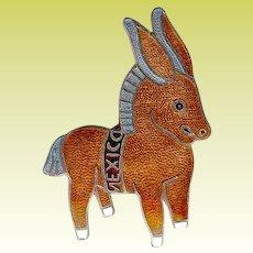 Vintage Margot de Taxco Brown Enamel Democrat Donkey Brooch Pin