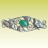 Antique Art Nouveau Poppy Chrysoprase Sterling Silver Brooch Pin