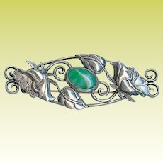Antique Art Nouveau Poppy Chrysoprase Sterling Silver Brooch Pin