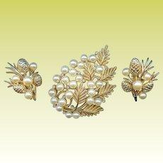 Vintage Trifari Pine Cone Fir Branch Rhinestone Brooch Pin Earring Set