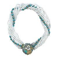 Retro 1950s Eugene 9 Strand Turquoise White Glass Bead Necklace Bridal