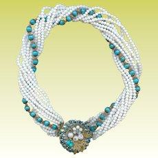 Retro 1950s Eugene 9 Strand Turquoise White Glass Bead Torsade Necklace Bridal