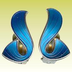 Vintage Norway Sterling Silver Earrings Modernist Ivar Holt Holth