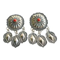 Old Navajo John Nelson Coral Sterling Silver Concho Dangle Earrings