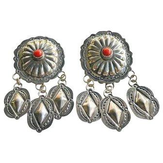 Old Navajo John Nelson Coral Sterling Silver Concho Dangle Earrings