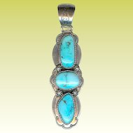 Long B. Johnson Navajo Handmade Sterling Silver Turquoise Pendant 27.1 Grams