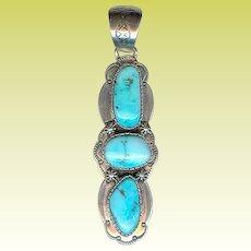 Long B. Johnson Navajo Handmade Sterling Silver Turquoise Pendant 27.1 Grams