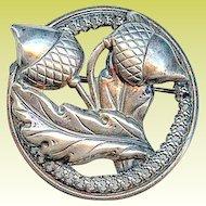 Retro 1940s Sterling Silver Acorn Oak Leaf Autumn Brooch Pin