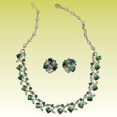 Vintage Lisner Emerald Green Rhinestone Necklace Earring Set