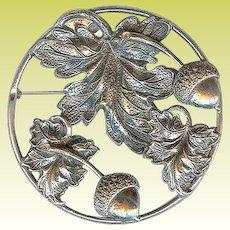 Art Deco Era Sterling Silver Acorn Oak Leaf Repousse Brooch Pin