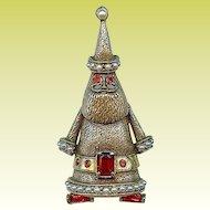 Charming Vintage Hollycraft Santa Red Rhinestone Brooch Pin
