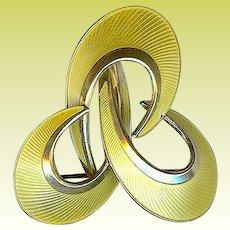 Vintage Norway Hroar Prydz Modernist Sterling Yellow Enamel Brooch Pin