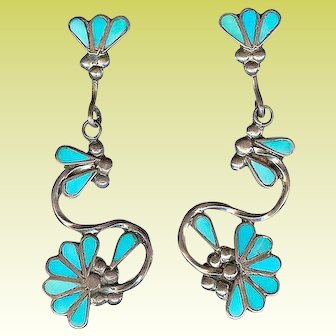 Superb Zuni Indian Sterling Flush Inlay Turquoise Long Dangle Earrings