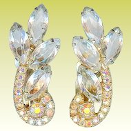 Verified Vintage Juliana D&E Clear Rhinestone Ear Climber Earrings