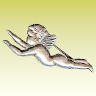 Vintage Margot de Taxco Mexico Tiny Cherub Angel Sterling Silver Brooch Pin