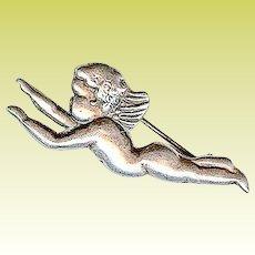 Vintage Margot de Taxco Mexico Tiny Cherub Angel Sterling Silver Brooch Pin