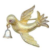 Sweet 1960s Jeanne Dove of Peace Ringing Bell Brooch Pin