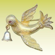 Vintage Jeanne Dove of Peace Ringing Bell Brooch Pin