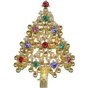 Vintage Eisenberg Not Ice Crystal Rhinestone Christmas Tree Brooch Pin