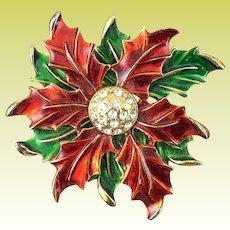 Eisenberg Ice Christmas Red Green Enamel Poinsettia Rhinestone Brooch Pin