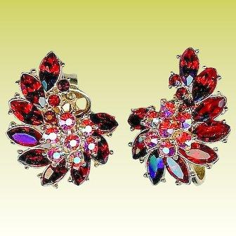 Vintage 1950s Crown Trifari Ruby Red Rhinestone Earrings