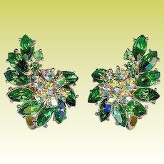 Vintage 1950s Crown Trifari Emerald Green Rhinestone Earrings