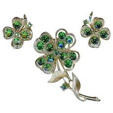 Lisner 1960s Shamrock Clover St Patricks Emerald Green Rhinestone Brooch Earring Set