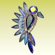 Vintage Confirmed Juliana D and E Blue Bird Rhinestone Brooch Pin