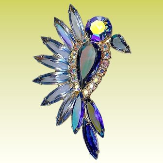 Vintage Confirmed Juliana D and E Blue Bird Rhinestone Brooch Pin