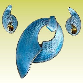 Vintage Modernist Finn Jensen Blue Sterling Enamel Bow Brooch Earrings