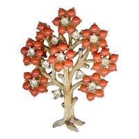 Rare Vintage 1960s Trifari Coral Rhinestone Tree of Life Brooch