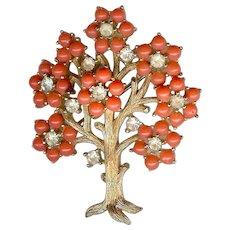 Vintage 1960s Trifari Coral Rhinestone Tree of Life Brooch Rare