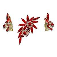 True Juliana D&E Cherry Red Rhinestone Brooch Earring Set Rare