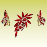 Vintage Juliana D&E Cherry Red Rhinestone Brooch Earring Set Rare