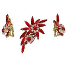 True Juliana D&E Cherry Red Rhinestone Brooch Earring Set Rare