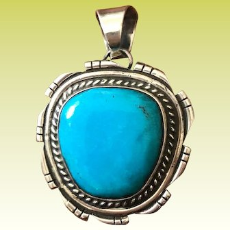 Navajo Chimney Butte Sterling Silver Turquoise Pendant
