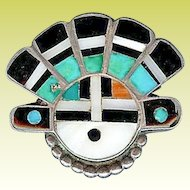 Superb 1940s Large Zuni Sterling Silver Sun Face Ring Sz 6
