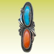 Vintage Signed Yazzie Navajo Turquoise Coral Sterling Pendant